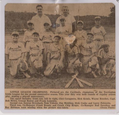 My father, 1957, when he played for the Cardinals in the Torrington Little League.